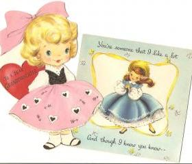 Vintage Hallmark Greeting Card Sweet little girls 1950s cuteness