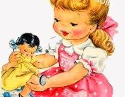 Bedtime for dolly. Vintage greeting card. Vintage digital image. JPEG.PDF.