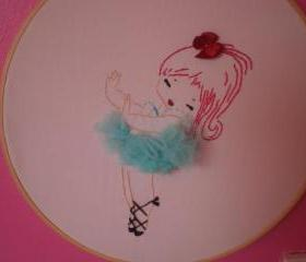 Vintage Ballerina hand embroidered wall art.